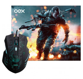 MOUSE USB COM MOUSE PAD GAMER OEX MC101 STAGE PRETO