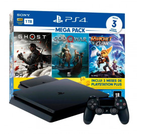 CONSOLE PS4 SONY 1TB PRETO CUH-2214B HITS V18 RATCHET CLANK/GOD OF WAR/GHOST