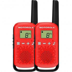 RADIO COMUNICADOR MOTOROLA T110BR 25KM 26 CANAIS VERMELHO/PRETO - SEM PILHAS
