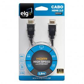 CABO HDMI PARA HDMI 2.0 ELG HS1018 4K 1.8MT PRETO
