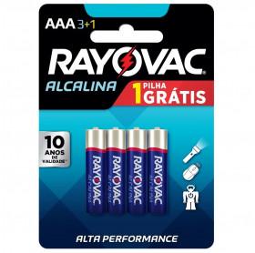 PILHA ALCALINA AAA C/4 RAYOVAC 1.5V AAA-LR3-AM4
