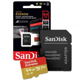 CARTÃO DE MEMORIA 64GB MICRO SDHC EXTREME UHD 4K SANDISK SDSQXAF-064G-GN6MA