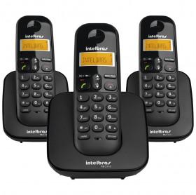 TELEFONE SEM FIO INTELBRAS TS 3113 COM ID + 2 RAMAIS PRETO