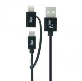 CABO USB 2 EM 1 LIGHTNING APPLE/MICRO USB ELG 1MT M8510 - HOMOLOGADO