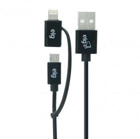 CABO USB 2 EM 1 LIGHTNING APPLE/MICRO USB ELG 1MT M8510 - HOMOLOGADO