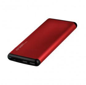 BATERIA PORTATIL 12000MAH ARGOM ALUMINUM 2 USB 5V/2.1A VERMELHA ARG-PB-1150RD