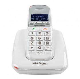 TELEFONE SEM FIO COM ID CHAMADAS E VIVA VOZ BRANCO INTELBRAS TS63V