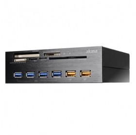 LEITOR DE CARTAO/USB INTERNO PARA GABINETE BAIA 3.5 AKASA AK-HC-07BK