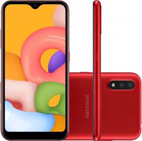 APARELHO CELULAR SMARTPHONE SAMSUNG GALAXY A01 RED OCTA CORE/32GB/2GBRAM/TEL 5.7