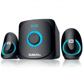 CAIXA DE SOM 2.1 SUMAY SM-CS3313B 42W RMS BLUETOOTH SD/USB/FM PRETA/AZUL