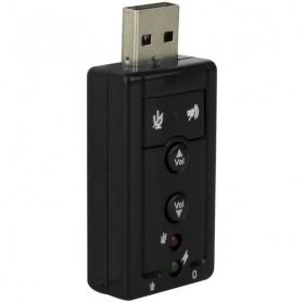 PLACA DE SOM USB 2.0 7.1 COM P2 FONE/MICROFONE PRETA