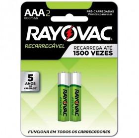 PILHA RECARREGAVEL AAA C/2 RAYOVAC 600MAH LD724-2BR