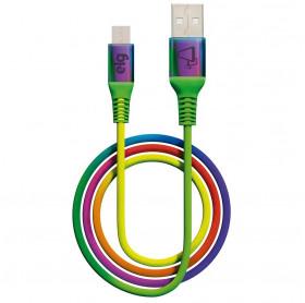 CABO USB MACHO PARA MICRO USB ELG TECIDO/NYLON 1.0MT RAINBOW M510RB
