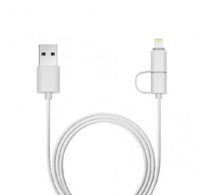 CABO 2 EM 1 LIGHTNING/MICRO USB 1MT PLUSCABLE BRANCO USB-UL3000WH - HOMOLOGADO