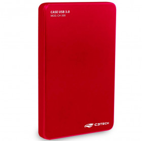 GAVETA EXTERNA C3 TECH CH-300 HDD/SSD 2.5 USB 3.0 VERMELHA