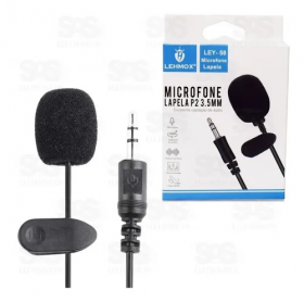 Microfone de Lapela Lehmox LEY-58 Preto