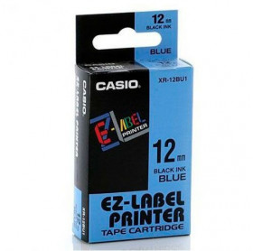 FITA PARA ROTULADORA CASIO 12MM PRETO NO AZUL XR-12BU1