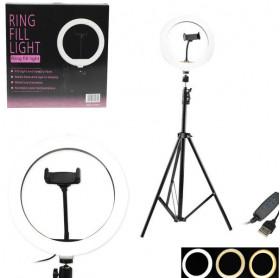 "Ring Light Iluminador LED 10"" Tripé 2 metros LU0075 - QX260"