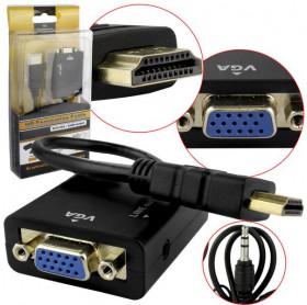 CABO ADAPTADOR HDMI MACHO PARA VGA FEMEA C/ AUDIO P2 SHINKA CB0109SK